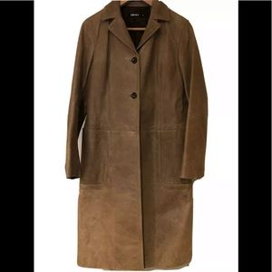 dkny leather long coat trench coffee brown size 4